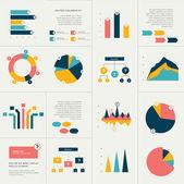 Big set of flat infographics elements. Chart, graph, diagram, scheme, flowchart, bubble included. — Stock Vector