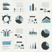 Flat set of charts and brochure elements. Simply color editable. Infographics elements. — Stockvektor