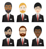 Various ethnicity business men. Flat illustration. — Stock Vector