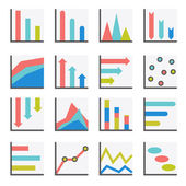 Set of flat minimalistic charts, graph, diagrams. Infographics vector. — Stock Vector