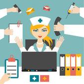 Multitasking woman nurse hard working. Busy medical woman. Flat design. — Stock Vector