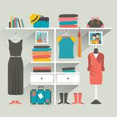 Wardrobe indoor. Flat design vector illustration. — Stock Vector