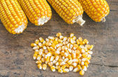 Close up to the pile of grain corn on a wooden background. — Stock Photo