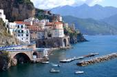 Scenic view of village atrani on amalfi coast in italy — Stockfoto