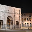 Triumphal Arch of Constantine nearby Colosseum in Rome by night, Italy — Stock Photo #55861273