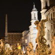 Beautiful Fountain of Neptune on Piazza Navona by night in Rome, Italy — Stock Photo #57330067