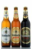 Variety of Krombacher beer isolated on white background — Stock Photo