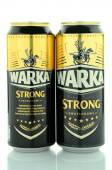 Warka strong beer isolated on white background. — Stock Photo