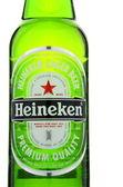 Heineken lager beer isolated on white background. — Stock Photo