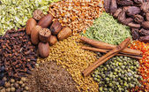 Colorful spices and herbs background — Stock Photo