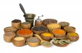 Spices and herbs on white background — Stock Photo