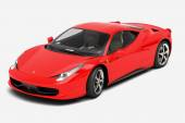 Red glossy  italian sport supercar isolated on white background from side view — Stock Photo