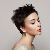 Portrait of a beautiful young girl with short hair. Black and wh — Stock Photo