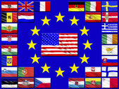 Flags of countries belonging to the European Union — Stock Photo
