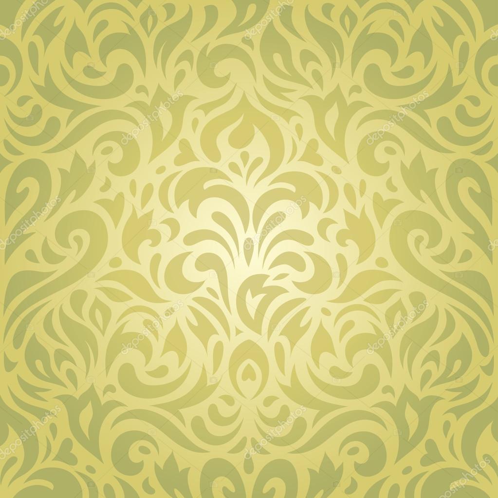 floral gr n vintage retro tapete vektor hintergrund. Black Bedroom Furniture Sets. Home Design Ideas