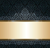 Black & gold luxury vintage wallpaper background — Stock Vector