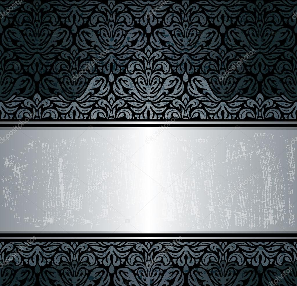 Fondo de papel pintado vintage negro y plata vector de - Papel pintado blanco y plata ...