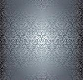 Silver luxury vintage pattern grunge  wallpaper — Cтоковый вектор