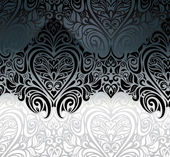 Wedding vintage Black & White floral invitation background — Stock Vector