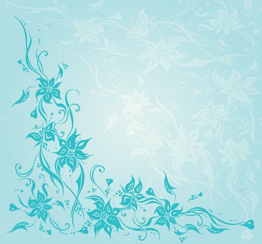 Turquoise Vintage Floral Invitation Wedding Background