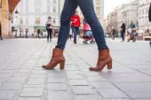 Slim model legs in blue jeans. — Foto Stock
