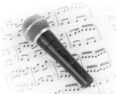 Dynamic microphone on music sheet. — Stock Photo