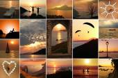 Collage - humor al atardecer — Foto de Stock
