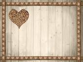 Background of wooden planks, wooden border with hearts — Foto Stock