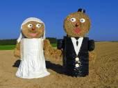 Couple in wedding dress - rural custom — Stock Photo
