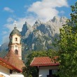 Picturesque historic church and karwendel alps, mittenwald — Stock Photo #55994597