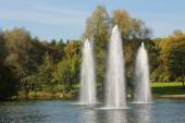 Pond with three water fountains — Stock Photo
