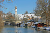 Idyllic gmund village at lake tegernsee in winter — Foto Stock
