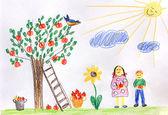 Children in a autumn garden - children drawing — Stock Photo
