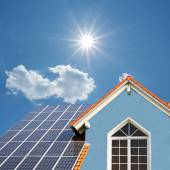 Modern new built house, rooftop with solar cells, bright sunshin — Stock Photo