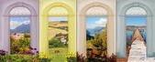 Collage four seasons - tulip field, coastal landscape, autumnal  — Stock Photo