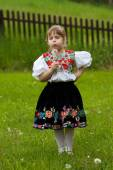 Folk costumes little girl on the meadow — Stock Photo