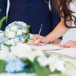 Bride signing wedding license — Stock Photo #67138157