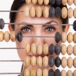 Portrait of young business woman with abacus — Stock Photo #68944837