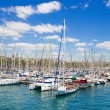 Sailboat harbor, beautiful sail yachts in the sea port, modern water transport, summertime vacation, luxury lifestyle and wealth concept — Stock Photo #74329763