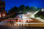 Beautiful Staircase at Night Downtown in the Poor Trois-Riviere — Stock Photo