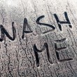 Wash Me Words on a Dirty Car Window — Stock Photo #54399559