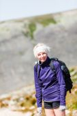 Woman Walking on a Rocky Hiking Path — Stock Photo