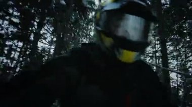 Snowmobile Driver in Forest — Stock Video