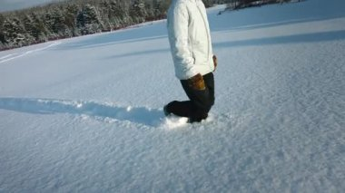 Woman Walking in Snow — Stock Video