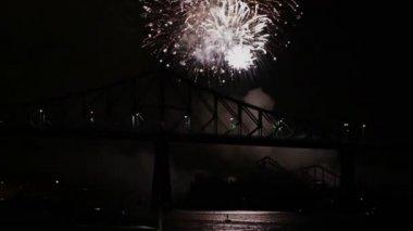 Fireworks at Night over Bridge — Stock Video