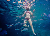 Girl Snorkeling and Surrounded with Chopa Fish — Stock Photo