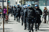 Cops Following Marchers in case of something Goes Wrong — Stock Photo