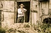 Farmer Shoveling the Horse Manure — Stock Photo