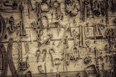Wall Filled with Old Tools Hanging on the wall — Stock Photo