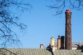 High old flue against the blue sky — Stock Photo